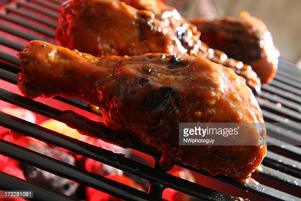 Outdoor Cooking - Barbecue Chicken on Grill