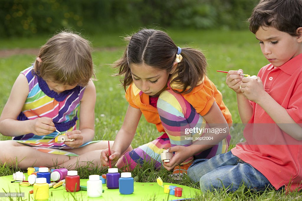 Outdoor creative activity for kids : Stock Photo