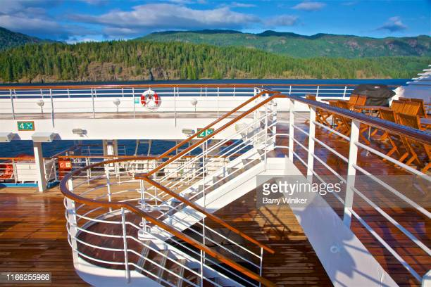outdoor deck and staircase on cruise ship after storm - barry wood stock pictures, royalty-free photos & images