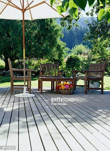 Outdoor deck overlooking garden