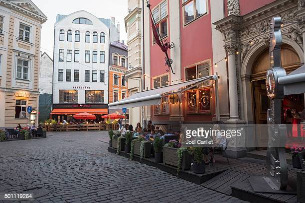 Outdoor dining at Rock Cafe in Riga, Latvia