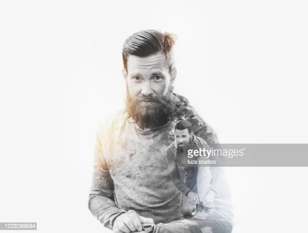 outdoor exercise double exposure concept - multiple exposure sport stock pictures, royalty-free photos & images