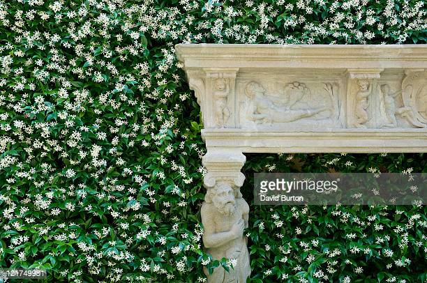 Outdoor fireplace feature surrounded by Jasmine (Jasminum), Villa balbianello, Lake Como, Italy