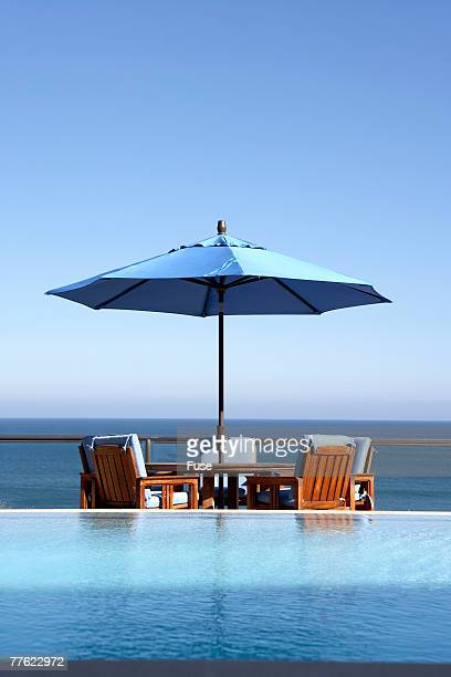 Outdoor Furniture by Pool on Oceanfront