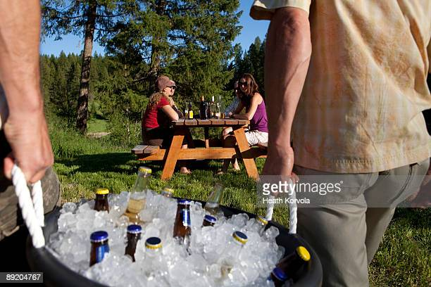 outdoor group party on the river. - esky stock photos and pictures