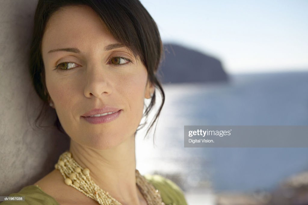 Outdoor Headshot Portrait of a Mature Woman : Stock Photo
