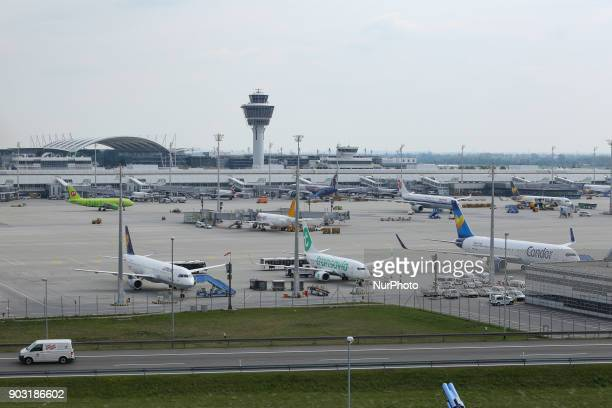 Outdoor images of the terminal the control tower aircraft and movements of Munich international airport in Germany Munich is the 15th busiest airport...