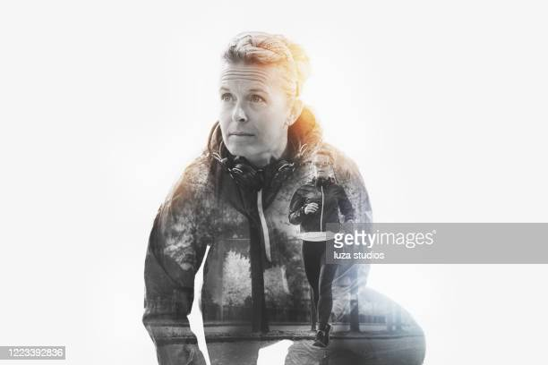 outdoor jogging double exposure concept - multiple exposure stock pictures, royalty-free photos & images
