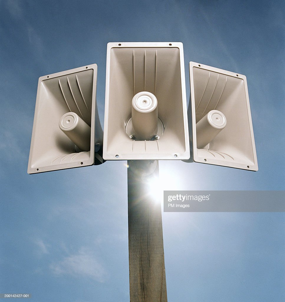 Outdoor loudspeakers with sun flare : Stockfoto