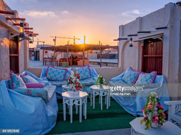 outdoor majlis at katara cultural village, doha, qatar - majlis stock pictures, royalty-free photos & images