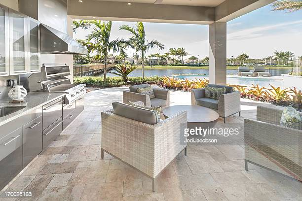 outdoor patio kitchen luxury exterior - outdoors stock pictures, royalty-free photos & images