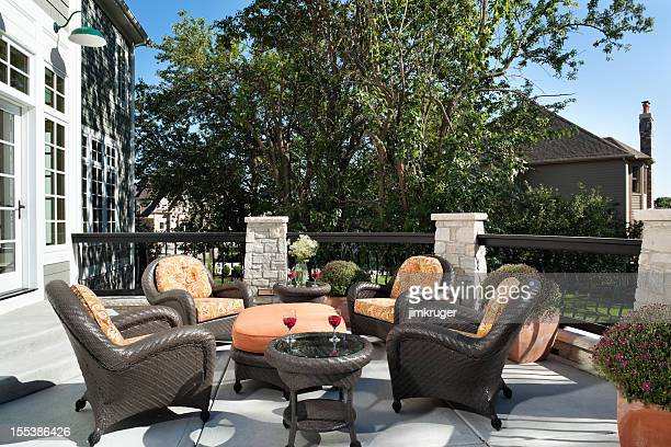 Outdoor patio living space wicker furniture.
