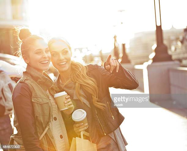 Outdoor photo of two women tourists in London