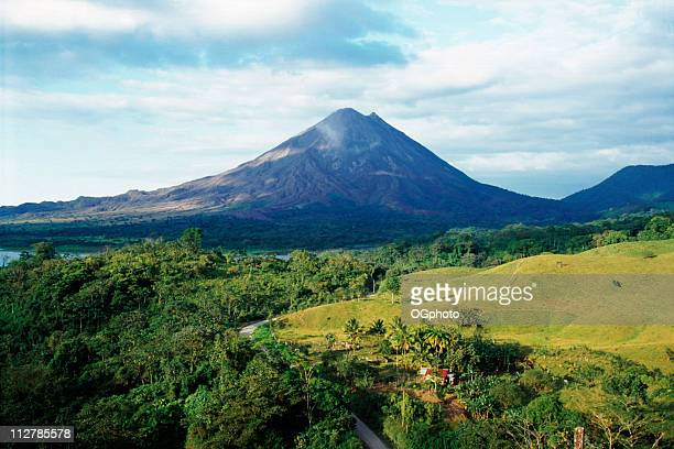 outdoor photo with arenal volcano in costa rica - costa rica stock photos and pictures