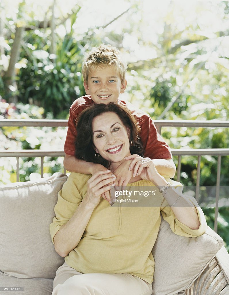 Outdoor Portrait of a Grandmother and Grandson : Stock Photo