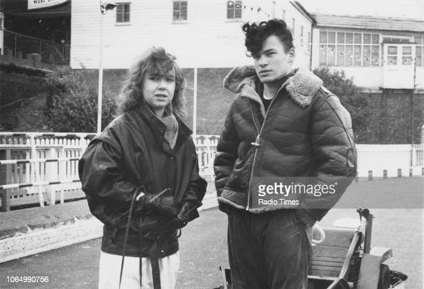 Outdoor portrait of actors Susan Tully and David Scarboro photographed for Radio Times in connection with the television soap opera 'EastEnders'...