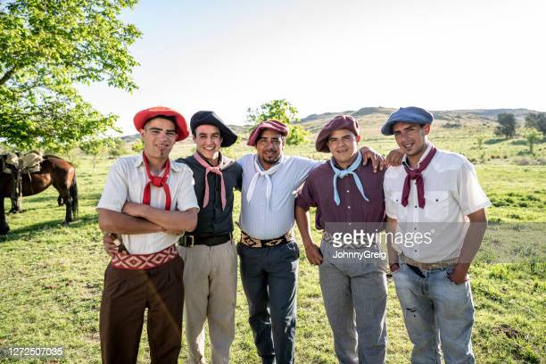 outdoor portrait of argentine gauchos in teens and 30s - cordoba argentina stock pictures, royalty-free photos & images
