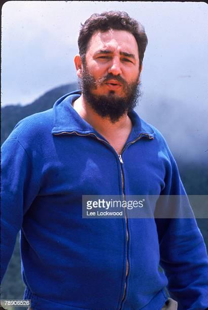 Outdoor portrait of Cuban leader Fidel Castro dressed in a blue zipper sweater Cuba 1966