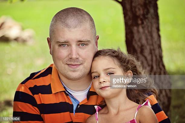 outdoor portrait of father and daughter - rebecca nelson stock pictures, royalty-free photos & images