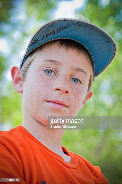outdoor portrait of freckled boy, nine years old - 8 9 years stock pictures, royalty-free photos & images