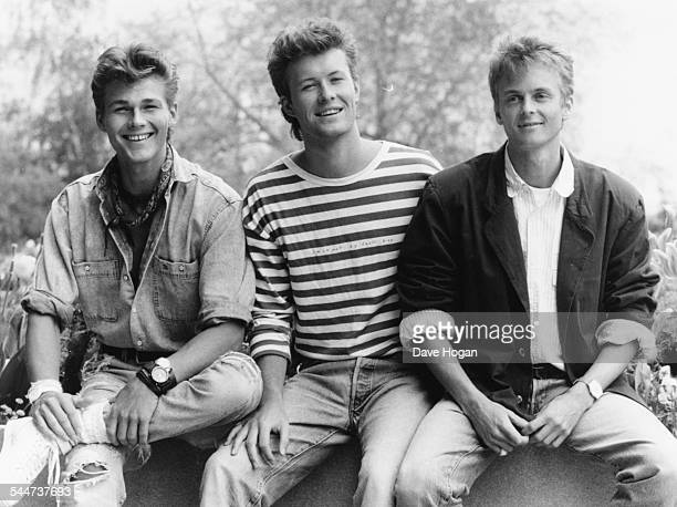 Outdoor portrait of Norweigan pop band 'AHa' Morten Harket Magne Furuholmen and Paul WaaktaarSavoy May 1987