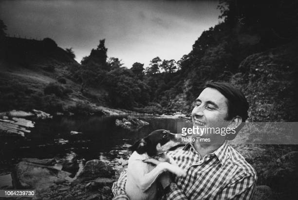 Outdoor portrait of politician David Steel MP with his pet dog July 1976