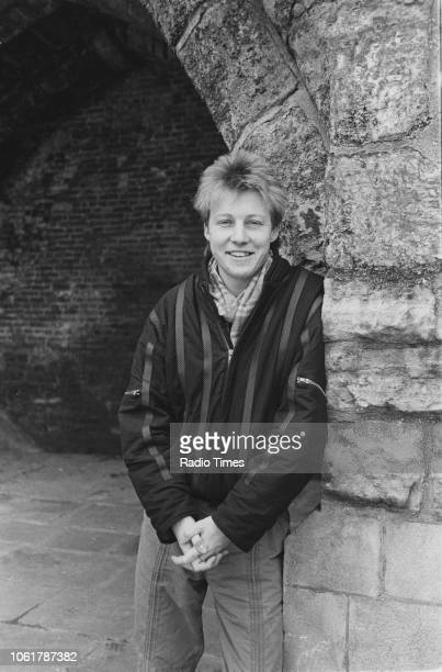 Outdoor portrait of radio presenter Simon Mayo photographed for Radio Times in connection with the BBC Radio 1 lunchtime show February 1986
