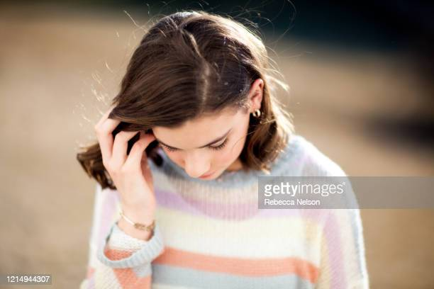 outdoor portrait of teenage girl - rebecca nelson stock pictures, royalty-free photos & images