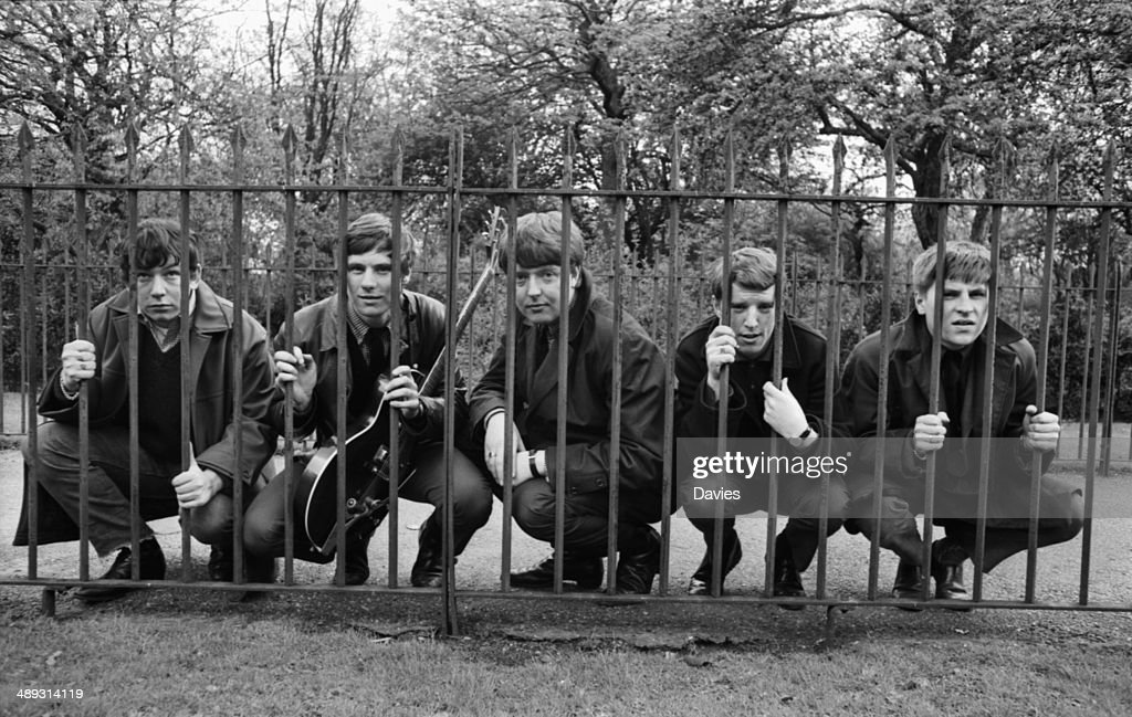 2a63757c2 Outdoor portrait of the band 'The Animals' behind a metal fence ...