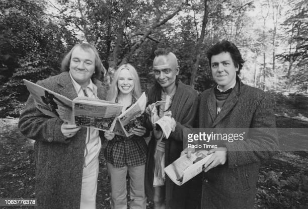 Outdoor portrait of the cast of comedy show 'Not the Nine O'Clock News' Mel Smith Pamela Stephenson Rowan Atkinson and Griff Rhys Jones October 10th...