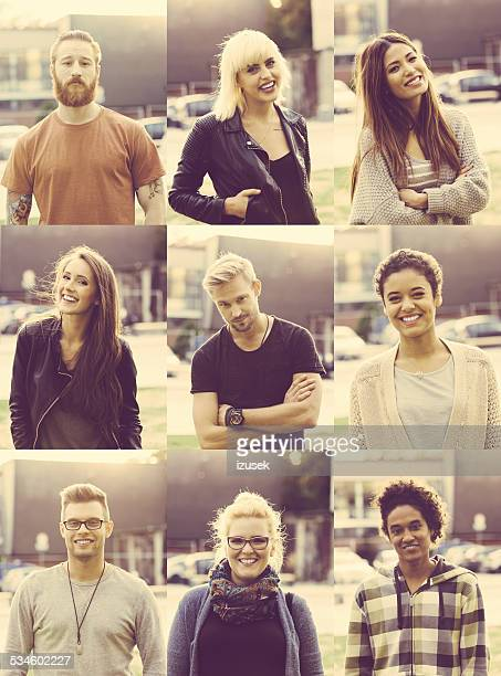 Outdoor portraits of nine mixed race young poeple