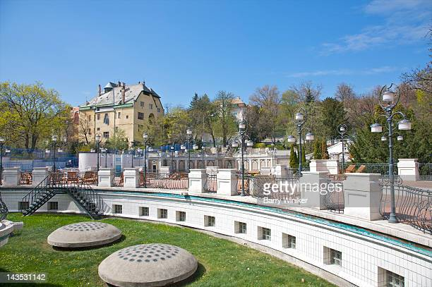 Outdoor relaxation area at Gellert Spa.
