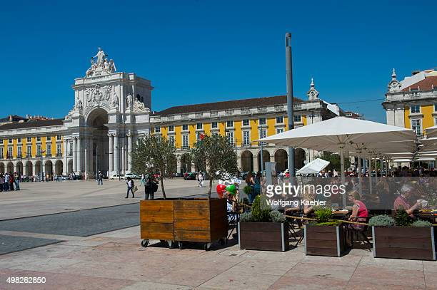 Outdoor restaurant and café at the Praca do Comercio in Lisbon the capital city of Portugal