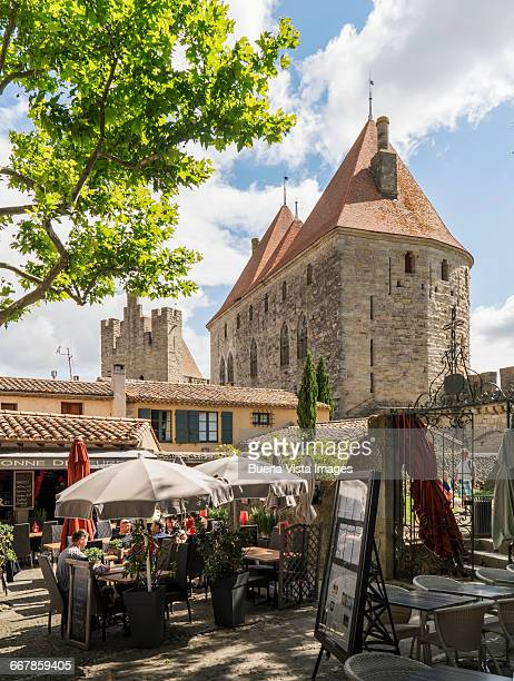 Outdoor restaurant in medieval town