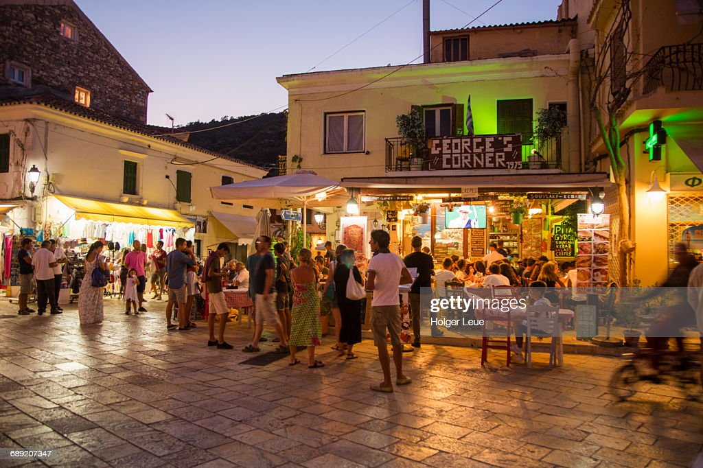 Outdoor restaurant seating in Old Town at dusk : Stock Photo