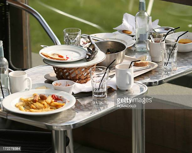 Outdoor restaurant table after the guests have left