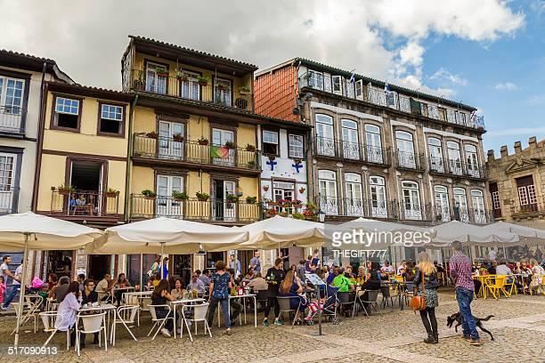 outdoor restaurants in guimarães, portugal - guimaraes stock photos and pictures