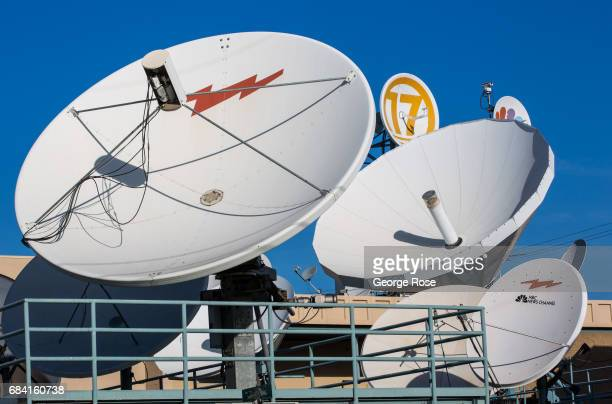 Outdoor satellite and microwave dishes at the local NBC affiliate television station are viewed on April 4 in Bakersfield California California...