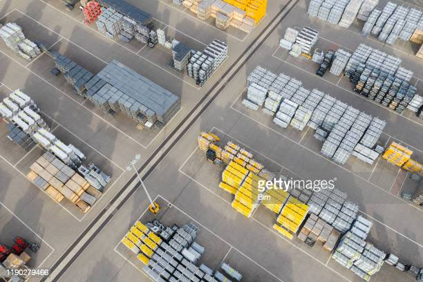 outdoor storage, aerial view - construction material stock pictures, royalty-free photos & images