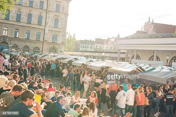outdoor street food festival in ljubljana - street food stock photos and pictures