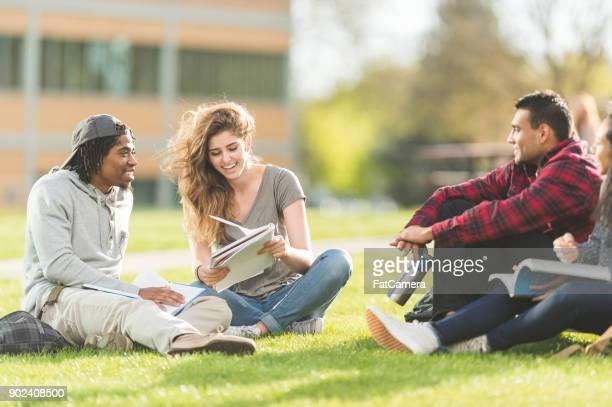 outdoor study group - campus stock photos and pictures