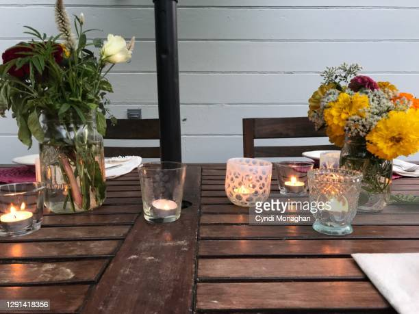 outdoor table set for a picnic - candle stock pictures, royalty-free photos & images