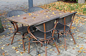 outdoor tables restaurant autumn time