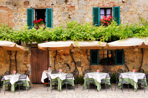 Outdoor trattoria in a quiant village in Tuscany, Italy 453203585