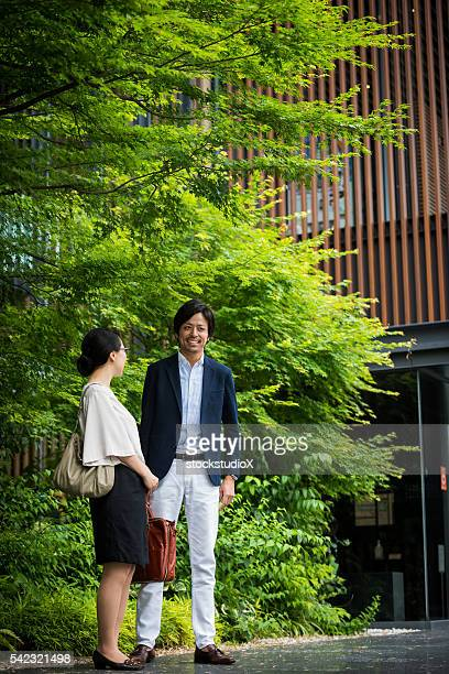 outdoor walking meeting - lypsekyo16 stock pictures, royalty-free photos & images