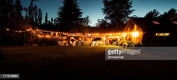 outdoor wedding reception - outdoor party stock pictures, royalty-free photos & images