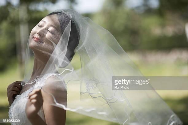 outdoor wedding shoot - wedding veil - fotografias e filmes do acervo