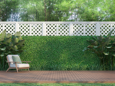 Outdoor wood terrace in the garden 3d render 1137518435