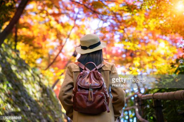 outdoors lifestyle fashion portrait of pretty young asian woman with backpack travelling in the autumn park in kyoto, japan. japan tourism, nature life, or landscape most visited tourist attractions concept. - multi colored hat stock pictures, royalty-free photos & images