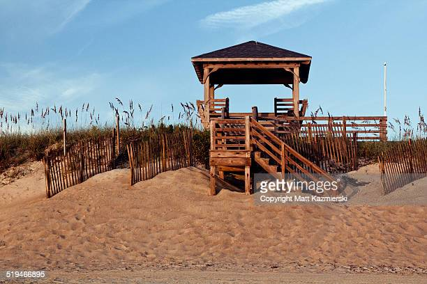 outer banks beach gazebo - kitty hawk beach stock pictures, royalty-free photos & images